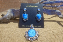 Artie Yellowhorse Blue Earings and Pendant